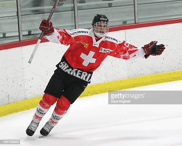 Yannick Rathgeb of team Switzerland scores the game winning shoot-out goal against team USA during game two of the U-18 Four Nations Cup on November...