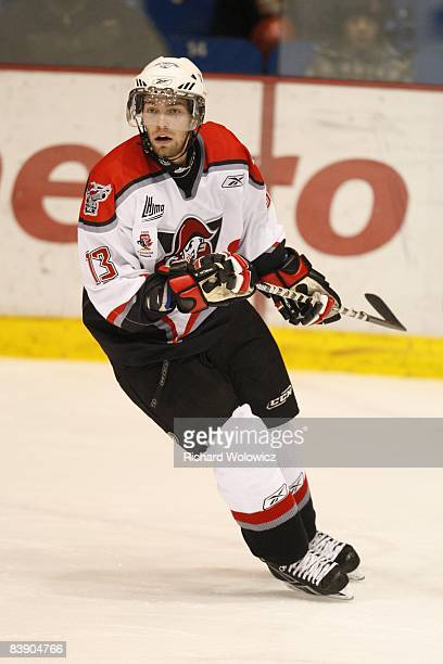 Yannick Riendeau of the Drummondville Voltigeurs skates during the game against the Drummondville Voltigeurs at the Centre Marcel Dionne on November...