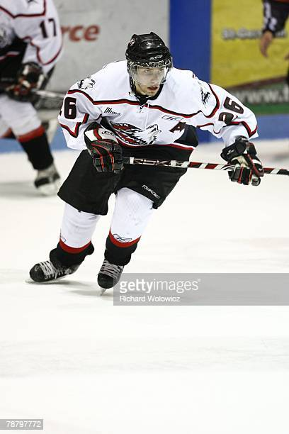 Yannick Riendeau of the Rouyn-Noranda Huskies skates during the game against the Drummondville Voltigeurs at the Centre Marcel Dionne on January 04,...
