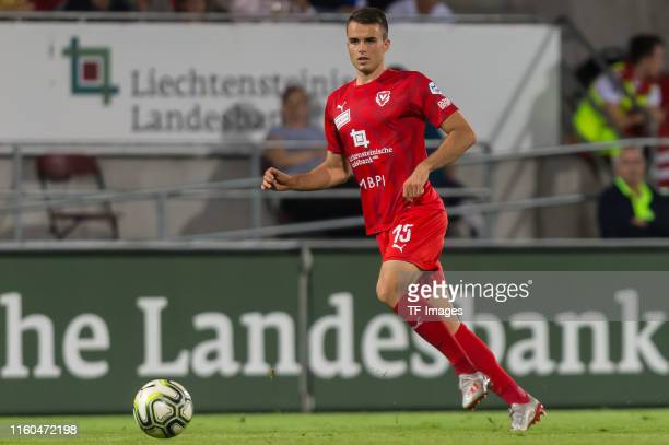Yannick Schmid of FC Vaduz controls the ball during the UEFA Europa League Third Qualifying Round match between FC Vaduz and Eintracht Frankfurt on...