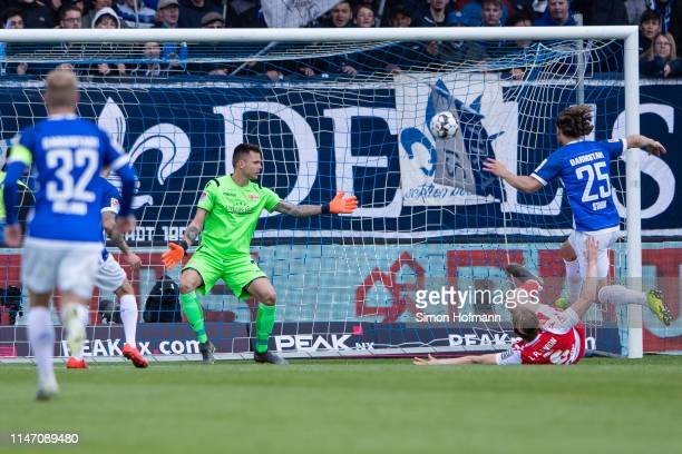 Yannick Stark of Darmstadt scores his team's first goal past Goalkeeper Rafal Gikiewicz of Berlin during the Second Bundesliga match between SV...