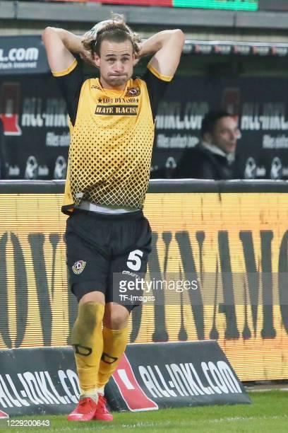 Yannick Stark of SG Dynamo Dresden throwin during the 3 Liga match between Dynamo Dresden and FSV Zwickau at RudolfHarbigStadion on October 20 2020...