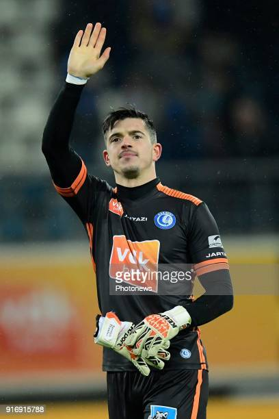 Yannick Thoelen goalkeeper of KAA Gent greeting the supporters after the victory during the Jupiler Pro League match between KAA Gent and Sint...