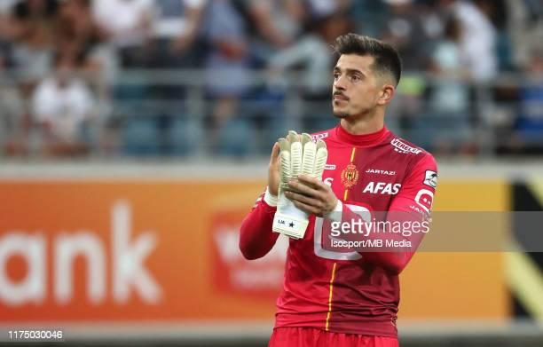 Yannick Thoelen of Kv Mechelen looks dejected during the Jupiler Pro League match between KAA Gent and KV Mechelen at Ghelamco Arena on September 15,...