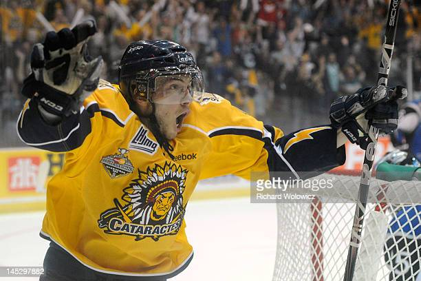 Yannick Veilleux of the Shawinigan Cataractes celebrates his third period game winning goal during the 2012 MasterCard Memorial Cup game against the...