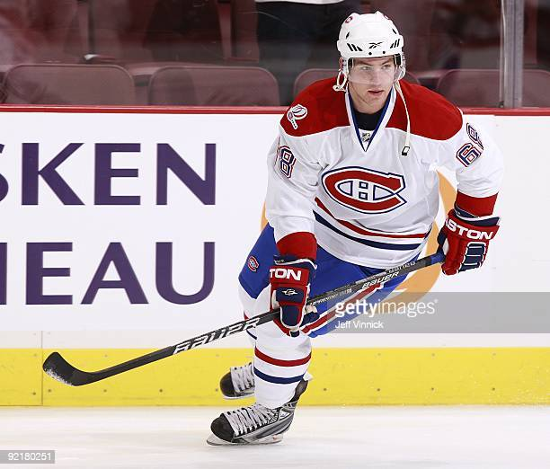 Yannick Weber of the Montreal Canadiens skates up ice during their game against the Vancouver Canucks at General Motors Place on October 7 2009 in...