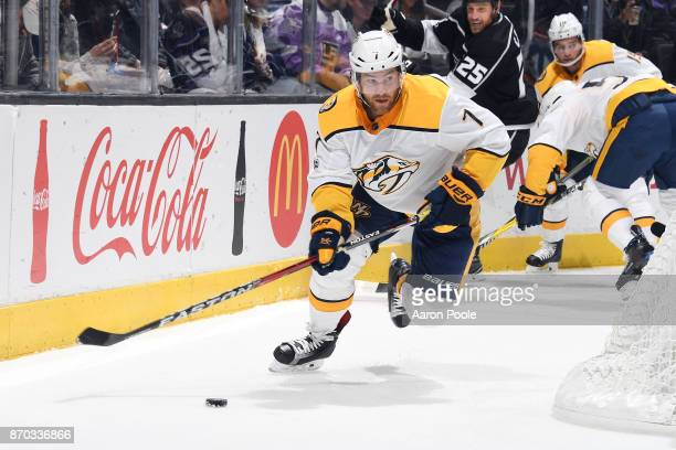 Yannick Weber of the Nashville Predators handles the puck during a game against the Los Angeles Kings at STAPLES Center on November 4 2017 in Los...