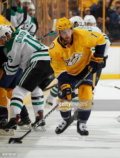 Yannick Weber of the Nashville Predators skates against the Dallas Stars during an NHL game at Bridgestone Arena on March 6 2018 in Nashville...