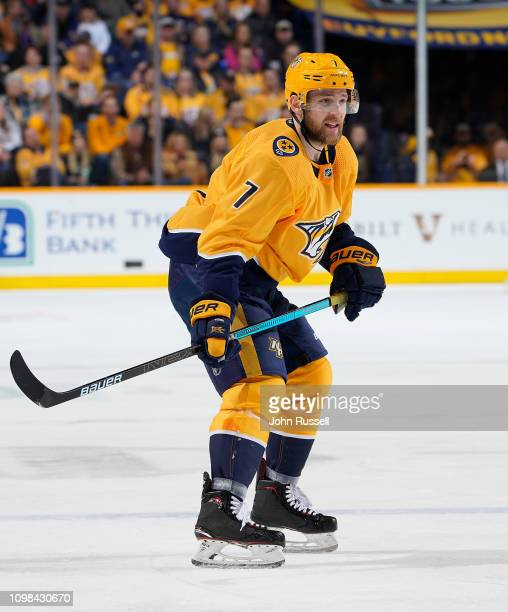 Yannick Weber of the Nashville Predators skates against the Florida Panthers at Bridgestone Arena on January 19 2019 in Nashville Tennessee
