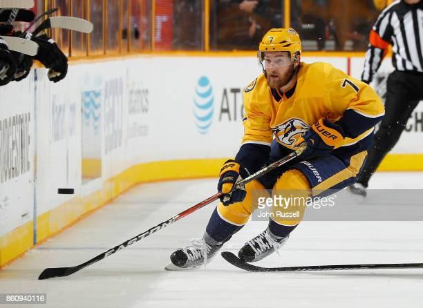 Yannick Weber of the Nashville Predators skates against the Philadelphia Flyers during an NHL game at Bridgestone Arena on October 10 2017 in...