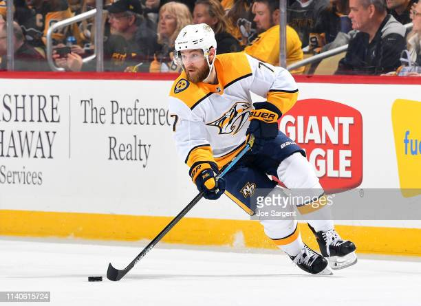 Yannick Weber of the Nashville Predators skates against the Pittsburgh Penguins at PPG Paints Arena on March 29 2019 in Pittsburgh Pennsylvania
