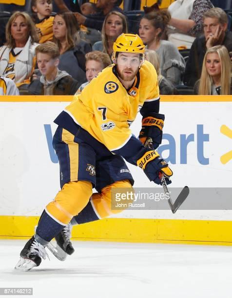 Yannick Weber of the Nashville Predators skates against the Pittsburgh Penguins during an NHL game at Bridgestone Arena on November 11 2017 in...