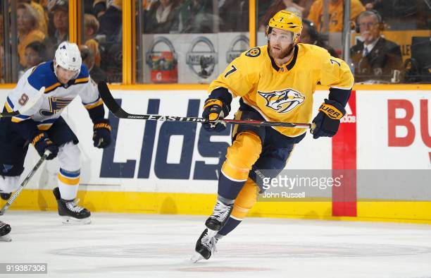 Yannick Weber of the Nashville Predators skates against the St Louis Blues during an NHL game at Bridgestone Arena on February 13 2018 in Nashville...