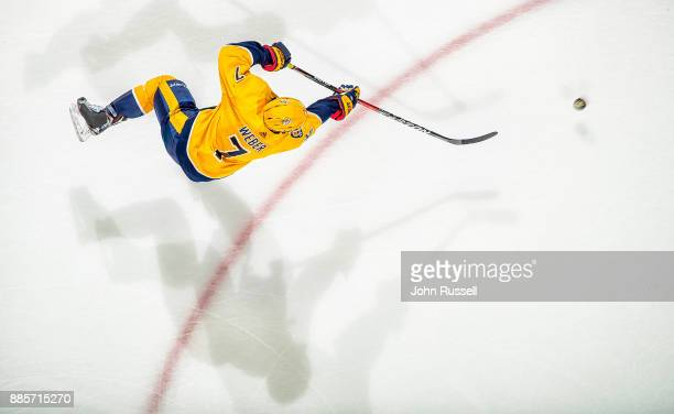 Yannick Weber of the Nashville Predators skates in warmups prior to the game against the Boston Bruins at Bridgestone Arena on December 4 2017 in...