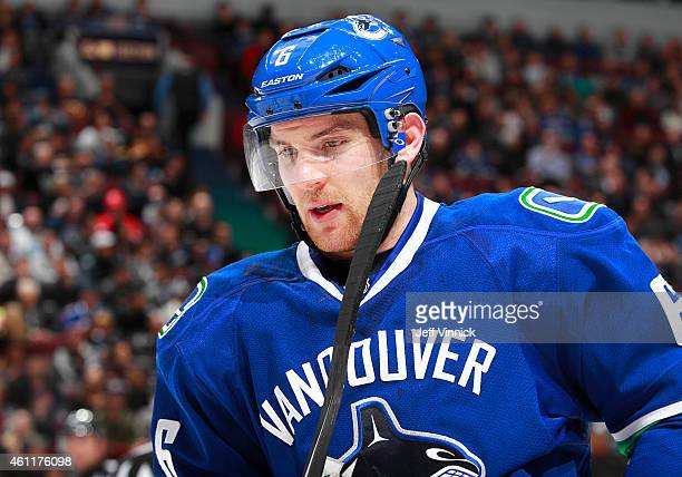 Yannick Weber of the Vancouver Canucks skates to the bench during their NHL game against the New York Islanders at Rogers Arena January 6 2015 in...