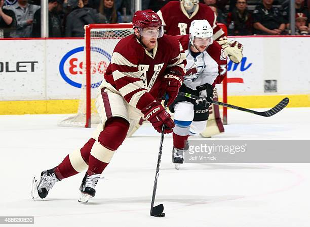 Yannick Weber of the Vancouver Canucks skates up ice during their NHL game against the Colorado Avalanche at Rogers Arena March 26 2015 in Vancouver...