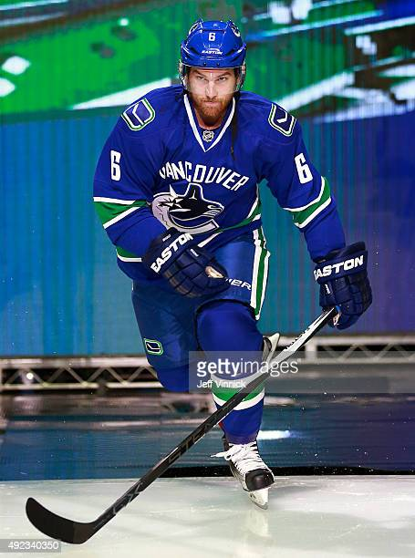 Yannick Weber of the Vancouver Canucks steps onto the ice during their NHL game against the Calgary Flames at Rogers Arena October 10 2015 in...
