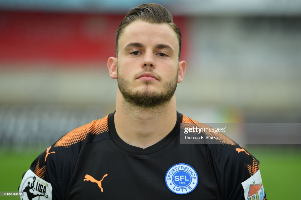 Yannick Zummack poses during the Third League team presentation of Sportfreunde Lotte at Frimo Stadium on July 16, 2017 in Lotte, Germany.