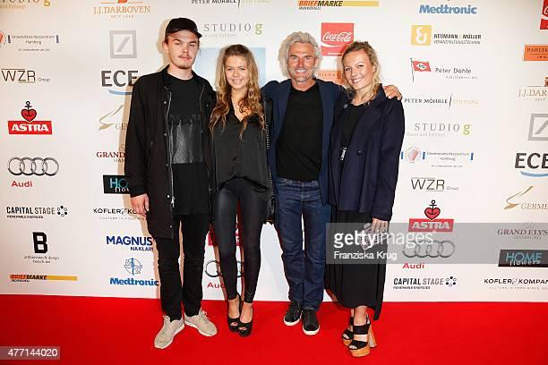 Yannik Dekeyser, Carolin Dekeyser, Bobby Dekeyser and Marie Dekeyser attend the 'Das Herz im Zentrum' Charity Gala on June 14, 2015 in Hamburg,...