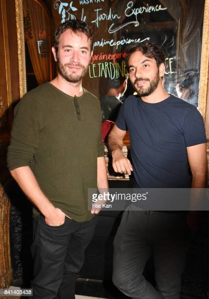 Yannis Lespert and Geoffrey Gervais attend the 'Garden Party So British' at Jardin L' Experience on August 31 2017 in Paris France