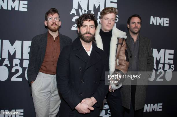 Yannis Philippakis, Jack Bevan, Jimmy Smith and Edwin Congreave of Foals attend the NME Awards 2020 at O2 Academy Brixton on February 12, 2020 in...
