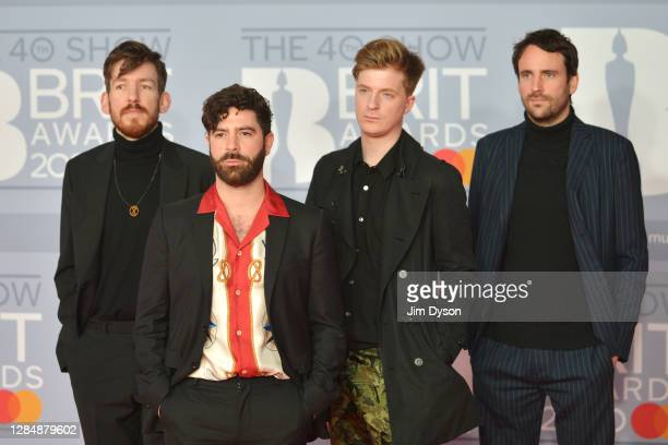 Yannis Philippakis, Jack Bevan, Jimmy Smith and Edwin Congreave of the band Foals arrive at The BRIT Awards 2020 at The O2 Arena on February 18, 2020...