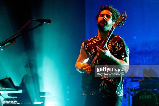 Yannis Philippakis of Foals performs on stage at Manchester Apollo on February 7 2014 in Manchester United Kingdom