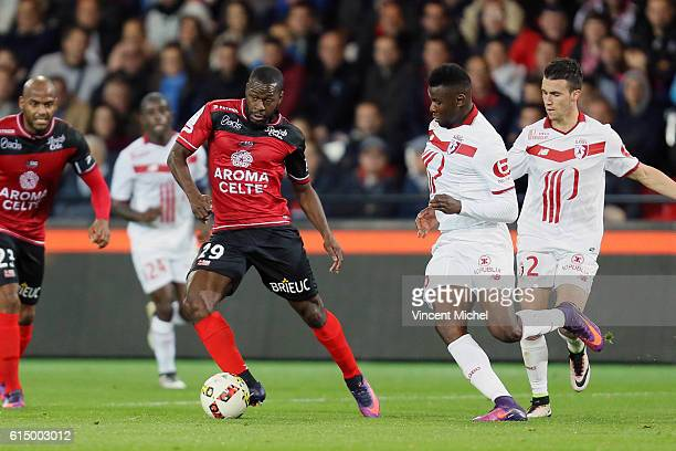 Yannis Salibur of Guingamp during the Ligue 1 match between EA Guingamp and Lille OCS at Stade du Roudourou on October 15, 2016 in Guingamp, France.