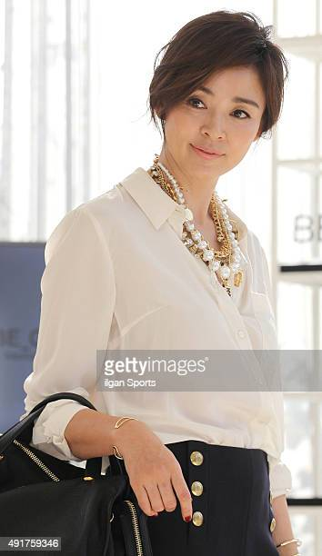 Yano Shiho poses for photographs during the BE_GE launching event at Nonhyeon dong on October 2 2015 in Seoul South Korea