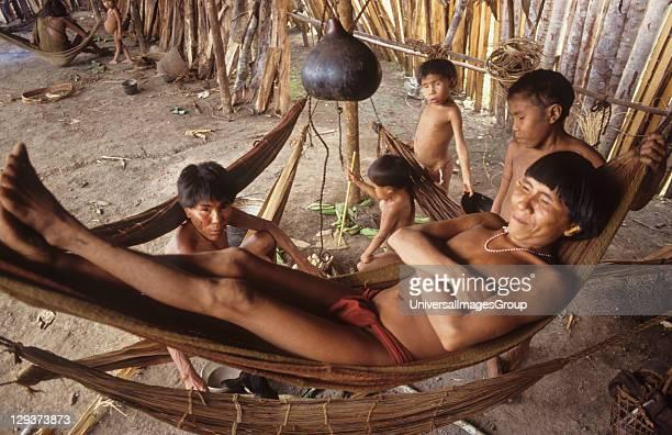 Yanomami Amerindians, Venezuelan Amazonas, Serra Parima, Orinoco River Basin, Yanomami village, Families live in large communal homesteads, Each...