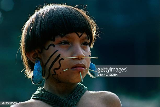 Yanomami girl with fine palm sticks through her face traditional symbols of beauty The Amazon rainforest Venezuela