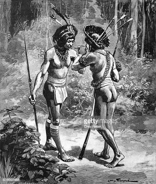 Yanomami Indians Sharing Yopo Snuff or Ebene Hallucinogenic Drug in the Amazon 1903