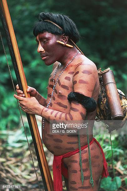 Yanomami man with body painting and traditional ornaments The Amazon rainforest Venezuela