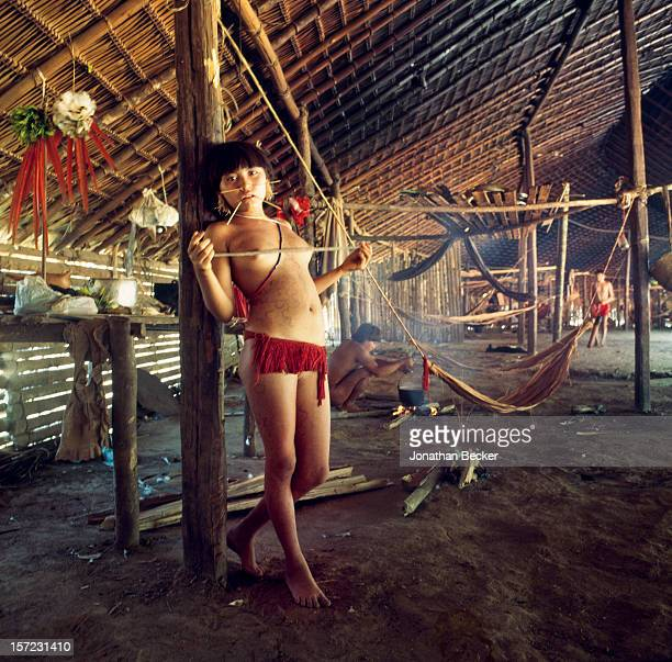 Yanomami Tribespeople are photographed for Vanity Fair Magazine on January 2, 1995 in the Amazon rainforest, Brazil. PUBLISHED IN JONATHAN BECKER: 30...