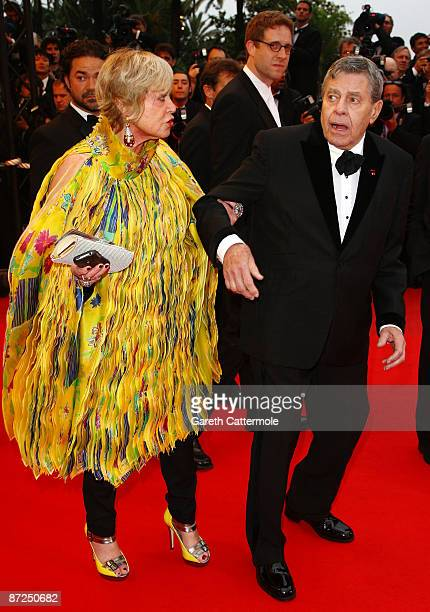 Yanou Collart and actor Jerry Lewis attend the Bright Star Premiere held at the Palais Des Festivals during the 62nd International Cannes Film...