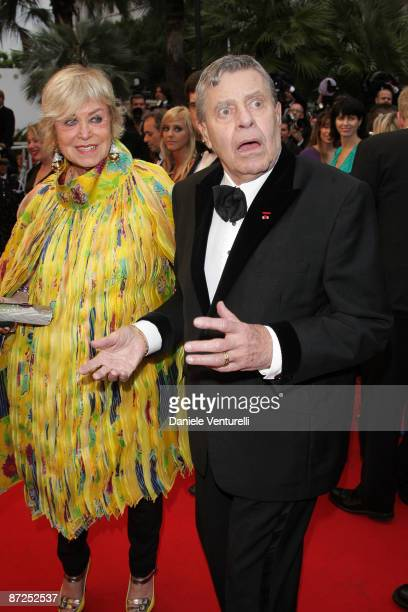 Yanou Collart and actor Jerry Lewis attend the 'Bright Star' Premiere at the Grand Theatre Lumiere during the 62nd Annual Cannes Film Festival on May...