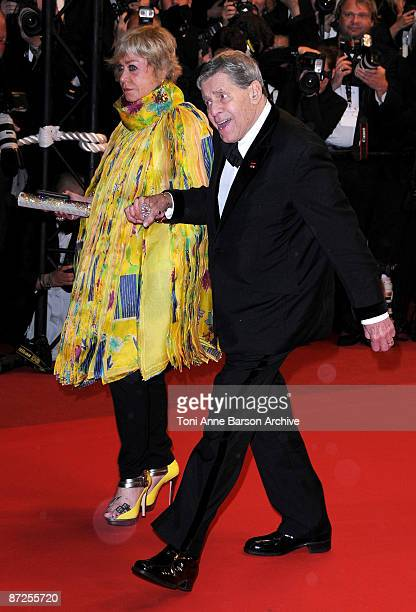 Yanou Collart and actor Jerry Lewis leaves the 'Bright Star' Premiere at the Grand Theatre Lumiere during the 62nd Annual Cannes Film Festival on May...
