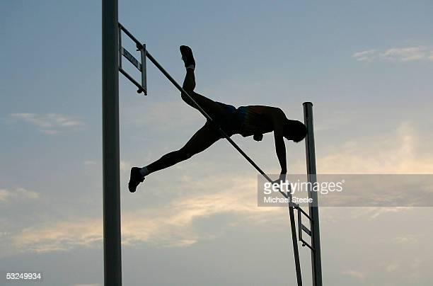 Yansheng Yang of China on his way to victory in the boys pole vault final during the IAAF World Youth Championships Day Five at the Sidi Youssef Ben...