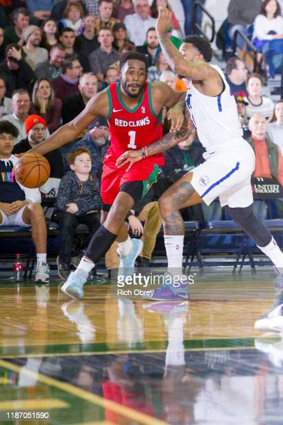 Yante Maten of the Maine Red Claws drives against the Delaware Blue Coats on Saturday, December 7, 2019 at the Portland Expo in Portland, Maine. NOTE...