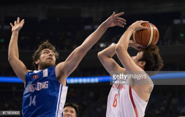Yanyuhang Ding of China in action during the FIBA Basketball World Cup 2019 Qualifiers between China and Hong Kong at Youth Olympic Sports Centre on...