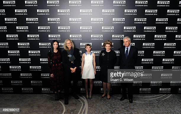 Yao Chen Agnes Gund Tavi Gevinson Annie Leibovitz and Marco Tronchetti Provera attend a photocall to launch the 2016 Pirelli Calendar by Annie...