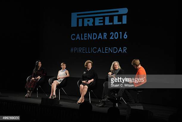 Yao Chen Tavi Gevinson Agnes Gund Annie Leibovitz and Clare Balding attend a photocall to launch the 2016 Pirelli Calendar by Annie Leibovitz at...