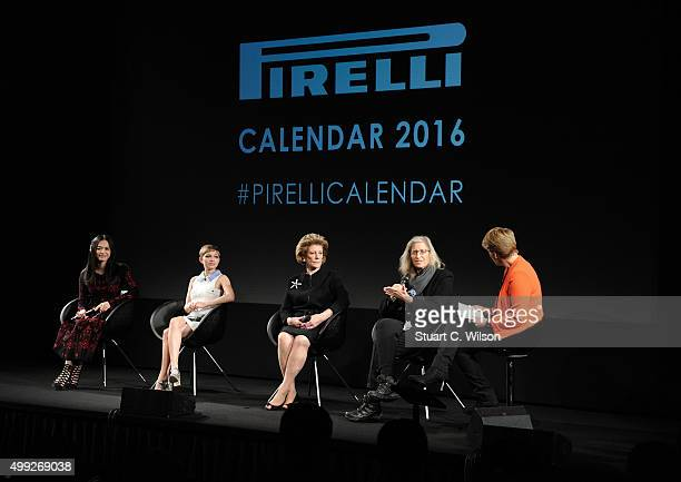 Yao Chen Tavi Gevinson Agnes Gund Annie Leibovitz and Clare Balding attend a photocall to launch the 2016 Pirelli Calendar by Annie Leibovitz at...