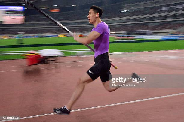 Yao Jie of China competes in the Men's Pole Vault during the IAAF Diamond League 2016 meeting at Shanghai Stadium on May 14, 2016 in Shanghai, China.