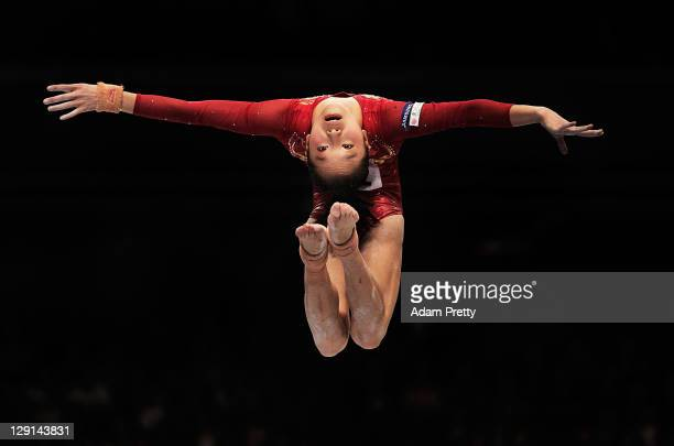 Yao Jinnan of China competes on the Balance Beam aparatus of the Women's All Around Final during day seven of the Artistic Gymnastics World...