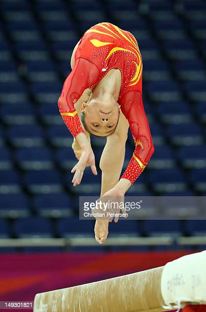 Yao Jinnan of China practises on the Beam during training sessions for artistic gymnastics ahead of the 2012 Olympic Games at Greenwich Training...