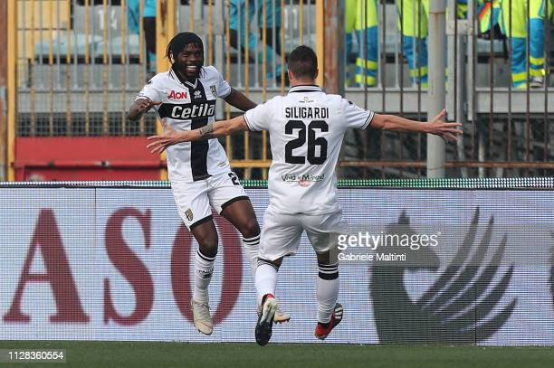 Yao Kouassi Gervinho of Parma FC celebrates after scoring a goal during the Serie A match between Empoli and Parma Calcio at Stadio Carlo Castellani...