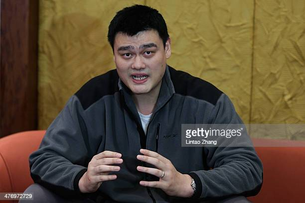 Yao Ming a former NBA basketball star and a delegate speaks during a press conference at International Hotel Conference Center on March 6 2014 in...