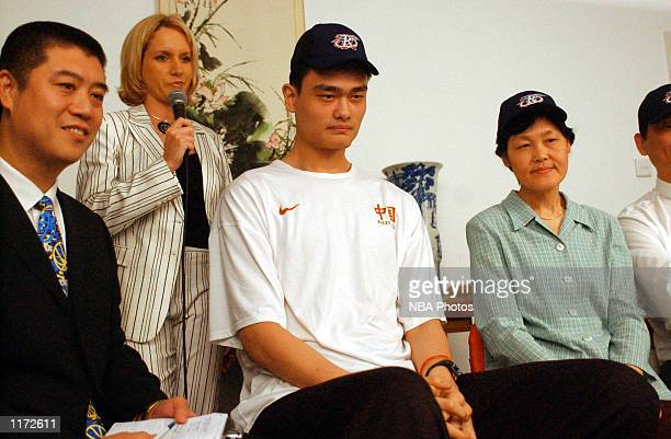 Yao Ming after being chosen first overall in the 2002 NBA Draft on June25, 2002 by the Houston Rockets, Shanghai, China. NOTE TO USER: User expressly...