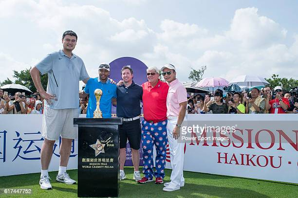 Yao Ming Allen Iverson Robbie Fowler John Daly and Tenniel Chu at the 1st hole during the World Celebrity ProAm 2016 Mission Hills China Golf...